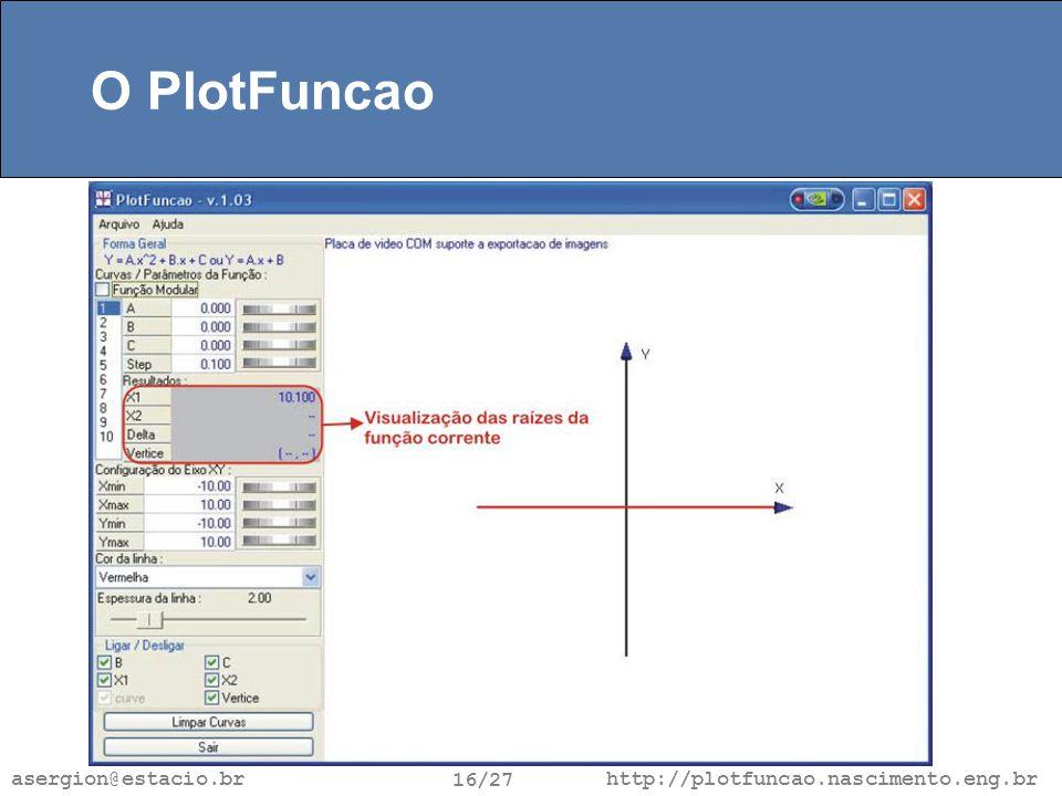 http://plotfuncao.nascimento.eng.br 16/27 asergion@estacio.br O PlotFuncao