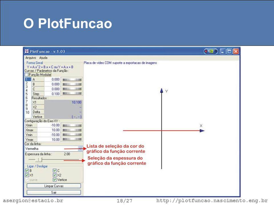 http://plotfuncao.nascimento.eng.br 18/27 asergion@estacio.br O PlotFuncao