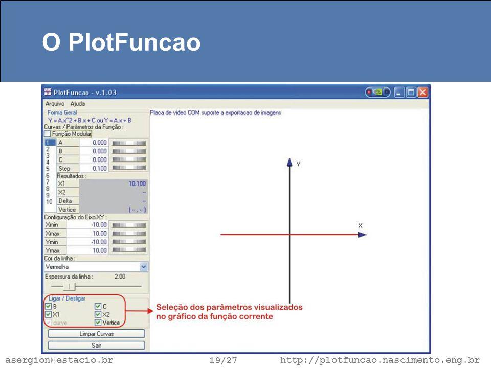 http://plotfuncao.nascimento.eng.br 19/27 asergion@estacio.br O PlotFuncao