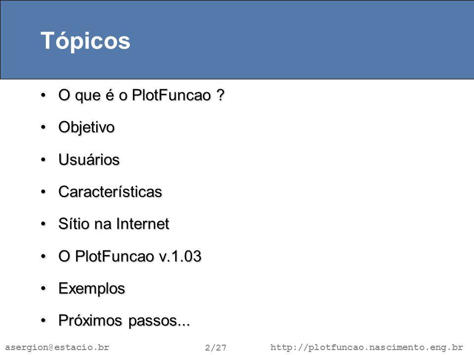 http://plotfuncao.nascimento.eng.br 2/27 asergion@estacio.br Tópicos O que é o PlotFuncao O que é o PlotFuncao .