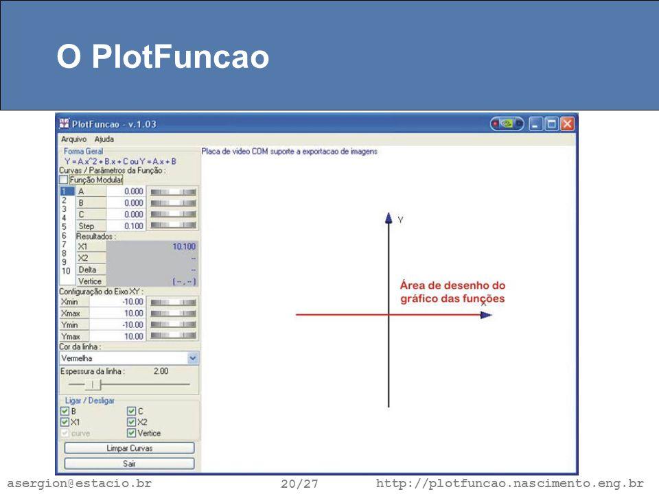 http://plotfuncao.nascimento.eng.br 20/27 asergion@estacio.br O PlotFuncao
