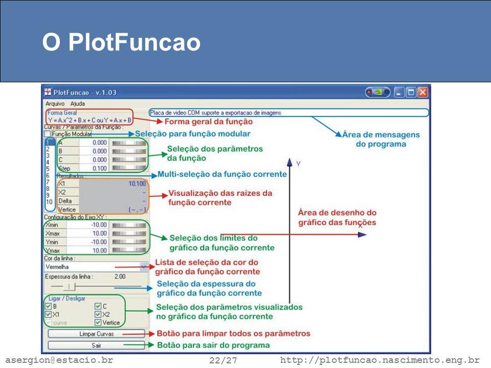 http://plotfuncao.nascimento.eng.br 22/27 asergion@estacio.br O PlotFuncao