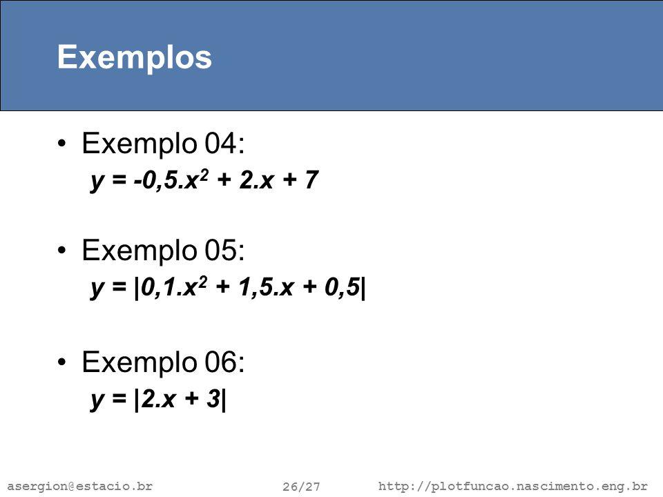 http://plotfuncao.nascimento.eng.br 26/27 asergion@estacio.br Exemplos Exemplo 04: y = -0,5.x 2 + 2.x + 7 Exemplo 05: y = |0,1.x 2 + 1,5.x + 0,5| Exemplo 06: y = |2.x + 3|