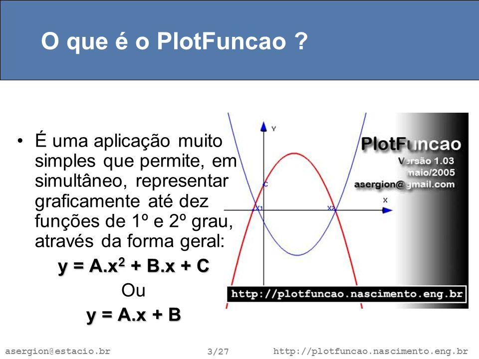 http://plotfuncao.nascimento.eng.br 3/27 asergion@estacio.br O que é o PlotFuncao .