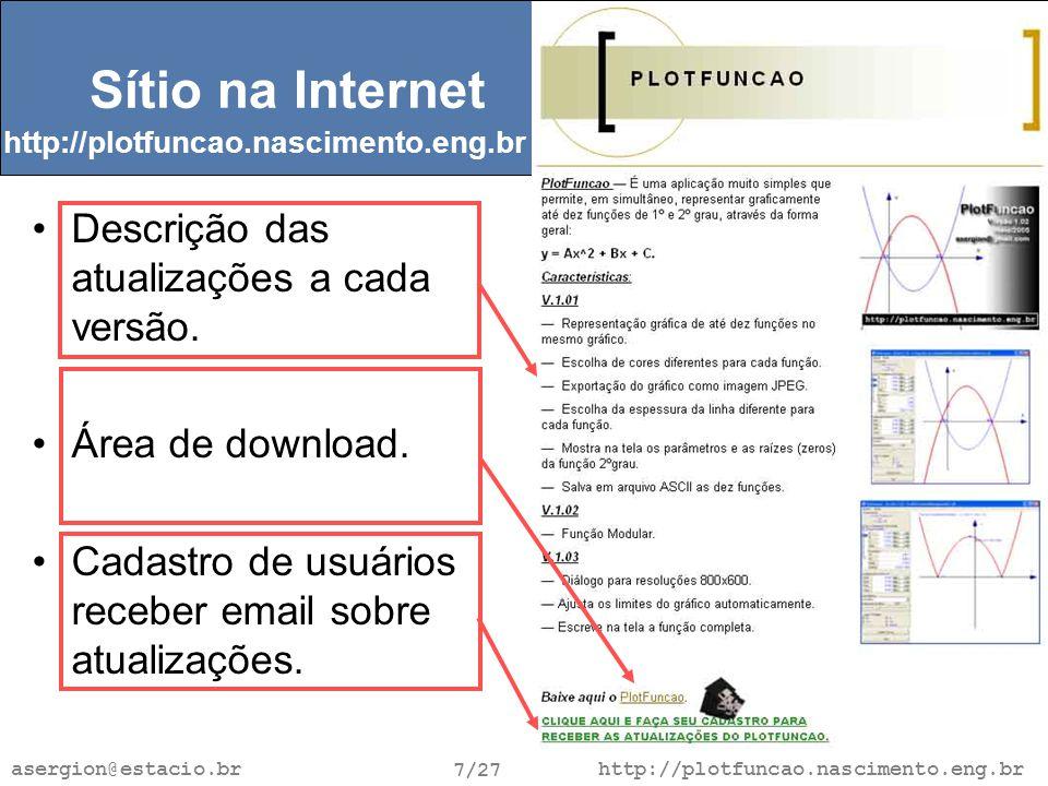 http://plotfuncao.nascimento.eng.br 7/27 asergion@estacio.br Sítio na Internet Descrição das atualizações a cada versão.