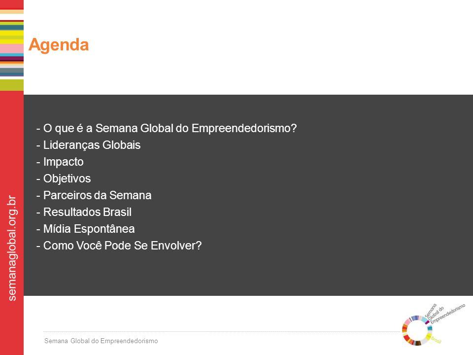 Semana Global do Empreendedorismo semanaglobal.org.br Na sua missão de multiplicar empreendedores pelo Brasil, a Endeavor coordena a Semana no país desde o 2008, se aliando a parceiros estratégicos que compartilham a sua causa.