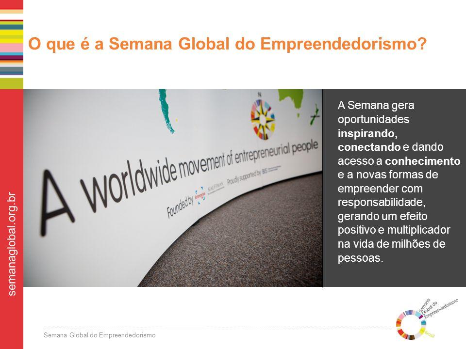 Semana Global do Empreendedorismo semanaglobal.org.br Apenas no último ano, mais de 7 milhões de pessoas no mundo participaram de 44.000 eventos durante uma semana em novembro – realizando desde palestras impactantes a competições criativas.