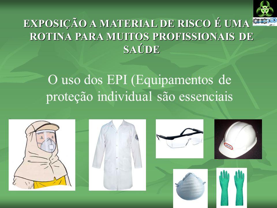 EXPOSIÇÃO A MATERIAL DE RISCO É UMA ROTINA PARA MUITOS PROFISSIONAIS DE SAÚDE O uso dos EPI (Equipamentos de proteção individual são essenciais
