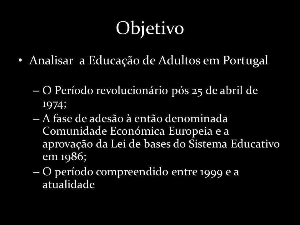 Objetivo Analisar a Educação de Adultos em Portugal – O Período revolucionário pós 25 de abril de 1974; – A fase de adesão à então denominada Comunidade Económica Europeia e a aprovação da Lei de bases do Sistema Educativo em 1986; – O período compreendido entre 1999 e a atualidade