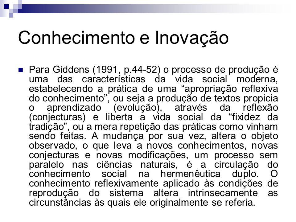 Conhecimento e Inovação Para Giddens (1991, p.44-52) o processo de produção é uma das características da vida social moderna, estabelecendo a prática