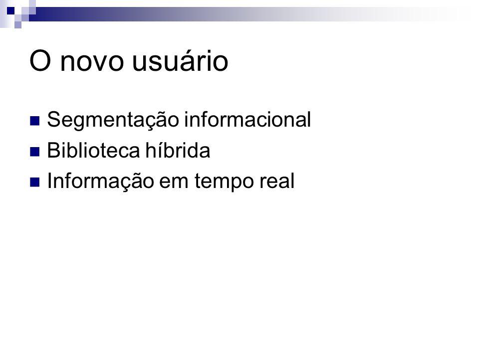 O novo usuário Segmentação informacional Biblioteca híbrida Informação em tempo real