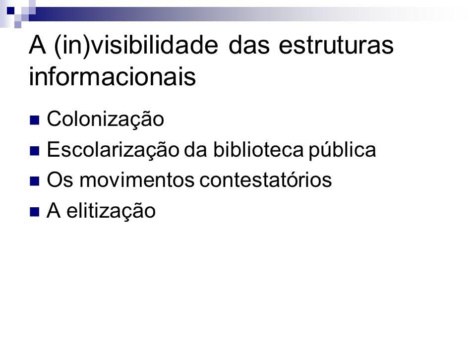 A (in)visibilidade das estruturas informacionais Colonização Escolarização da biblioteca pública Os movimentos contestatórios A elitização
