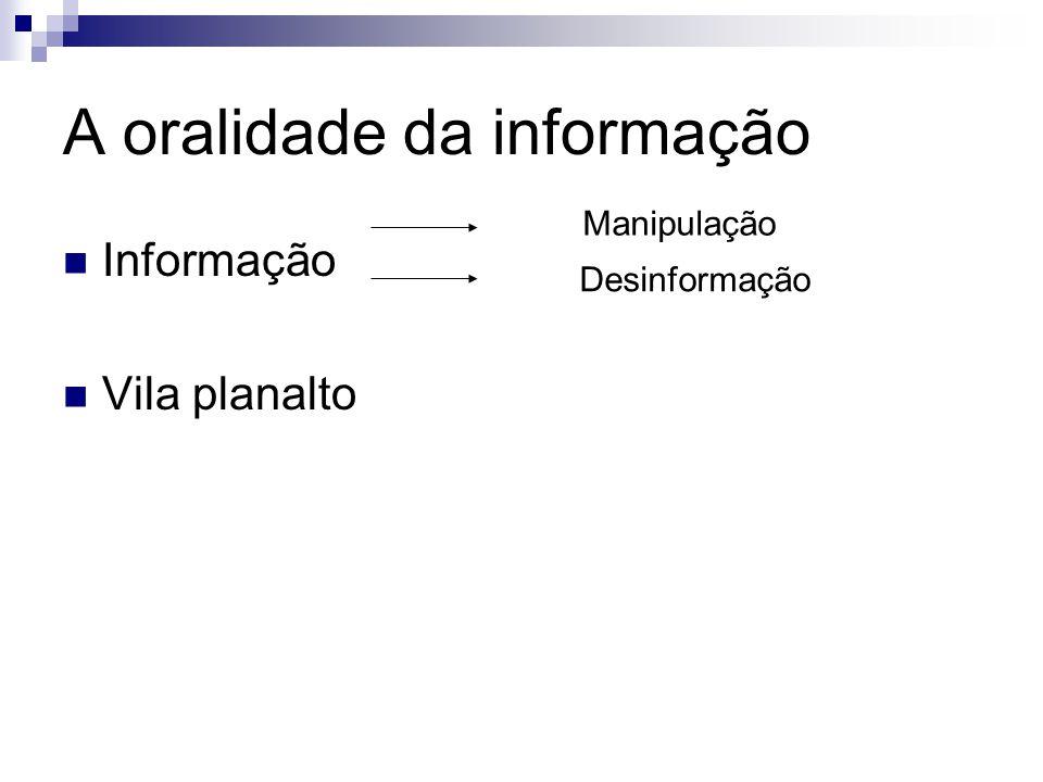 A oralidade da informação Informação Vila planalto Manipulação Desinformação