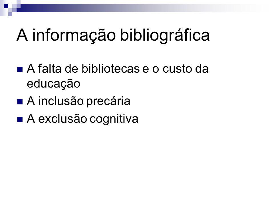 A informação bibliográfica A falta de bibliotecas e o custo da educação A inclusão precária A exclusão cognitiva