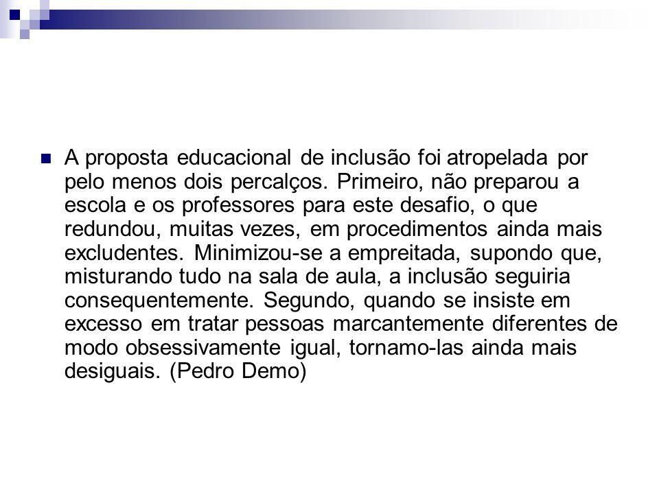 A proposta educacional de inclusão foi atropelada por pelo menos dois percalços. Primeiro, não preparou a escola e os professores para este desafio, o