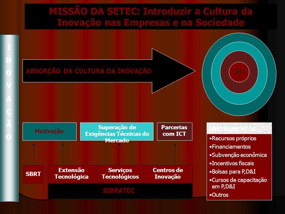 MISSÃO DA SETEC: Introduzir a Cultura da Inovação nas Empresas e na Sociedade EI ABSORÇÃO DA CULTURA DA INOVAÇÃO Motivação Superação de Exigências Técnicas do Mercado Parcerias com ICT SBRT Extensão Tecnológica Serviços Tecnológicos Centros de Inovação SIBRATEC INSTRUMENTOS Recursos próprios Financiamentos Subvenção econômica Incentivos fiscais Bolsas para P,D&I Cursos de capacitação em P,D&I Outros INOVAÇÃOINOVAÇÃO