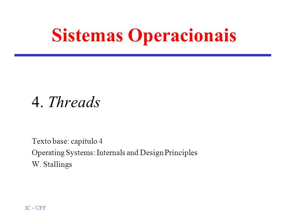 IC - UFF Threads: nível usuário espaço do usuário espaço do núcleo biblioteca de threads P P Processo thread nível usuário