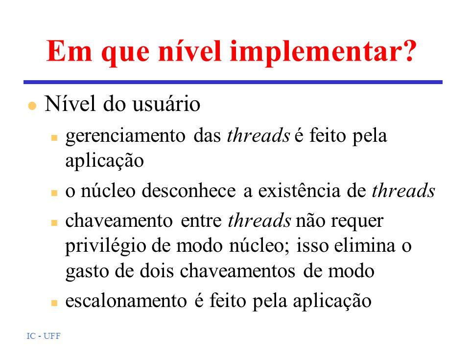 IC - UFF Em que nível implementar? l Nível do usuário n gerenciamento das threads é feito pela aplicação n o núcleo desconhece a existência de threads