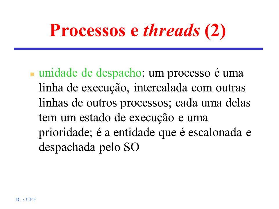 IC - UFF Processos e threads (2) n unidade de despacho: um processo é uma linha de execução, intercalada com outras linhas de outros processos; cada u