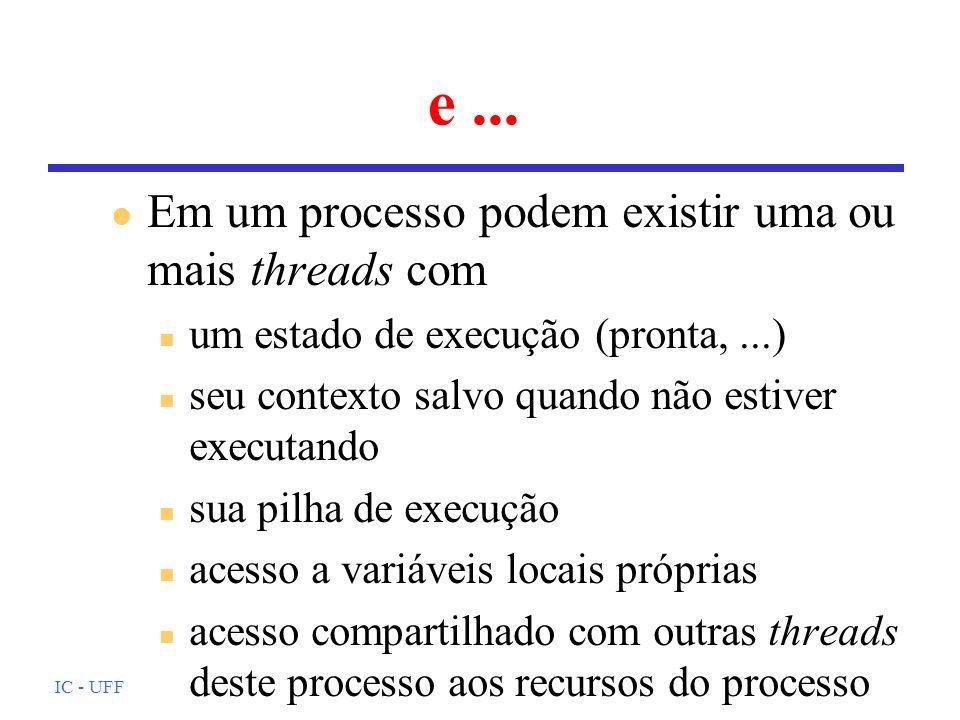 IC - UFF e... l Em um processo podem existir uma ou mais threads com n um estado de execução (pronta,...) n seu contexto salvo quando não estiver exec
