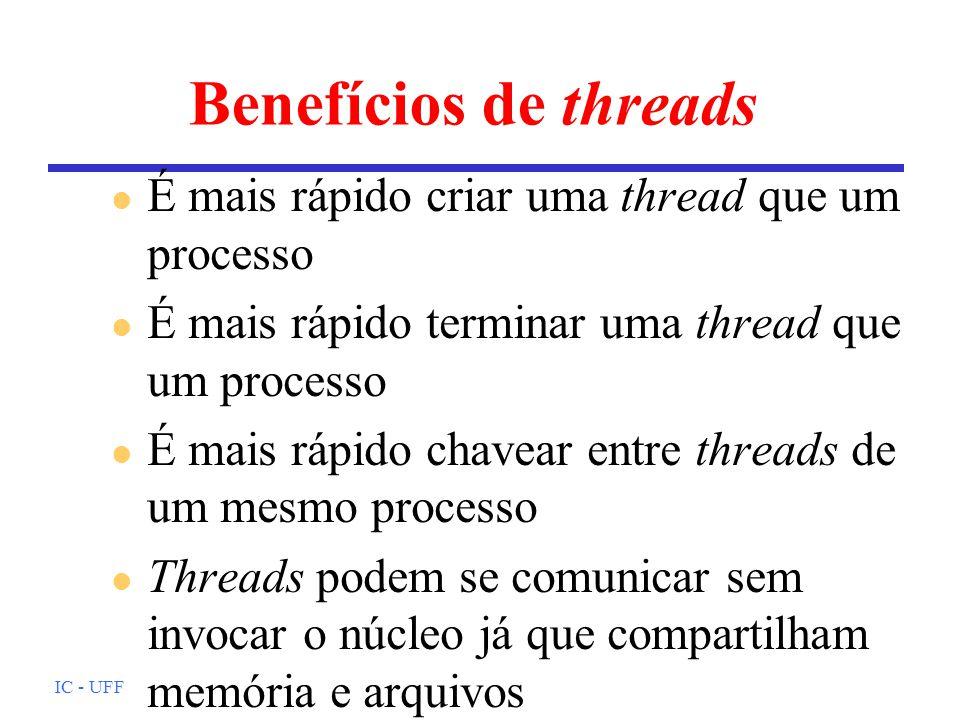 IC - UFF Exemplo de uso #include #include void thr_func(int *id); /* codigo threads 1 e 3 */ void thr_yield(int *id); /* codigo thread 2 */ int main(){ pthread_t thr1,thr2,thr3; /* declara as threads */ int nThrID1,nThrID2,nThrID3; nThrID1 = 1; nThrID2 = 2; nThrID3 = 3; /* cria threads: id, inic, funcao, param funcao */ pthread_create(&thr1,NULL,(void* )thr_func,&nThrID1); pthread_create(&thr2,NULL,(void* )thr_yield,&nThrID2); pthread_create(&thr3,NULL,(void* )thr_func,&nThrID3); /* espera fim das threads: id, status de saida */ pthread_join(thr3,NULL); pthread_join(thr2,NULL); pthread_join(thr1,NULL); }