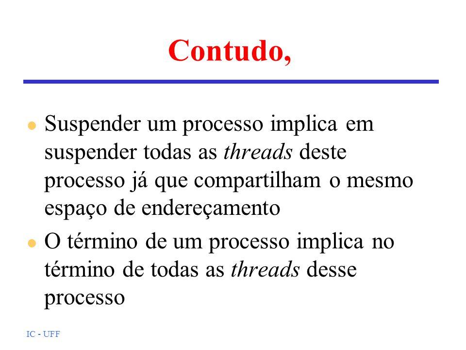 IC - UFF Exemplo de uso (2) /* codigo das threads 1 e 3 */ void thr_func(int *id){ printf( Eu sou a thread %d\n ,*id); } /* codigo da thread 2 */ void thr_yield(int *id){ sched_yield(); printf( Eu sou a thread %d\n ,*id); } /* compilacao: gcc -o threads -lthread -lposix4 threads.c */