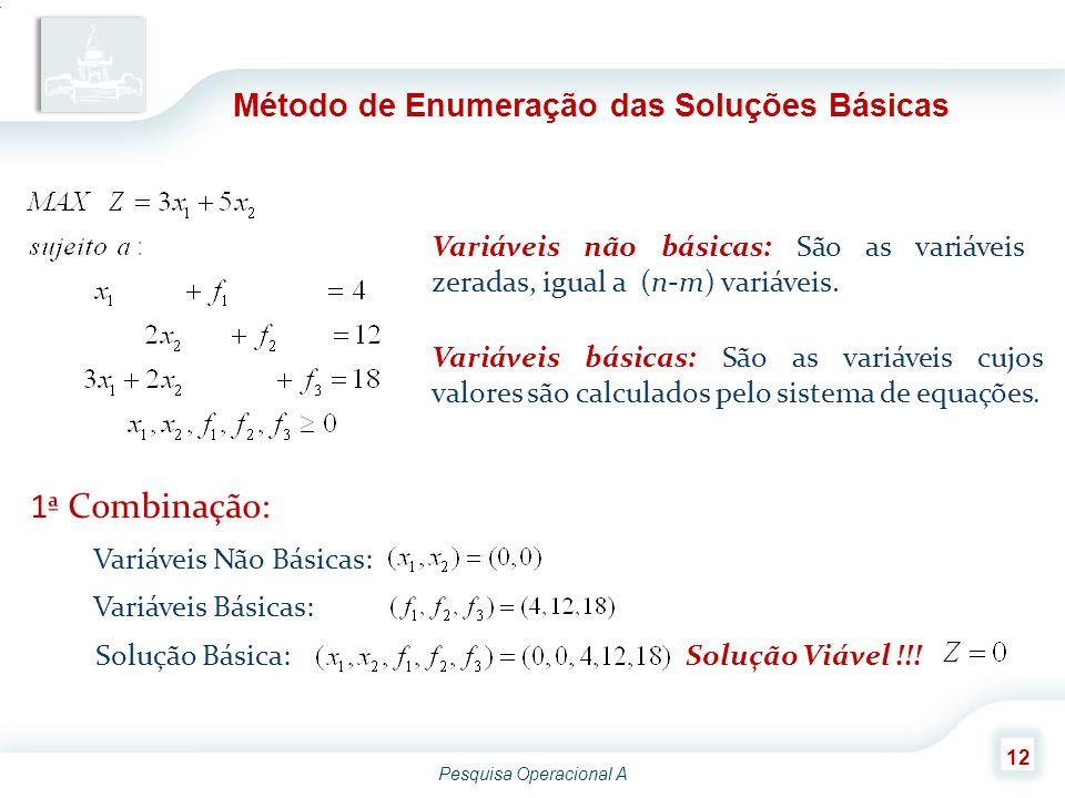 Pesquisa Operacional A 12 Método de Enumeração das Soluções Básicas Variáveis não básicas: São as variáveis zeradas, igual a (n-m) variáveis. Variávei