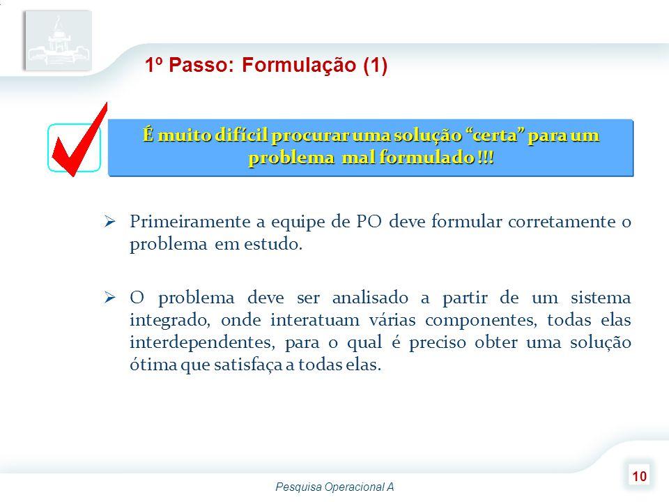 Pesquisa Operacional A 10 1º Passo: Formulação (1)  Primeiramente a equipe de PO deve formular corretamente o problema em estudo.  O problema deve s