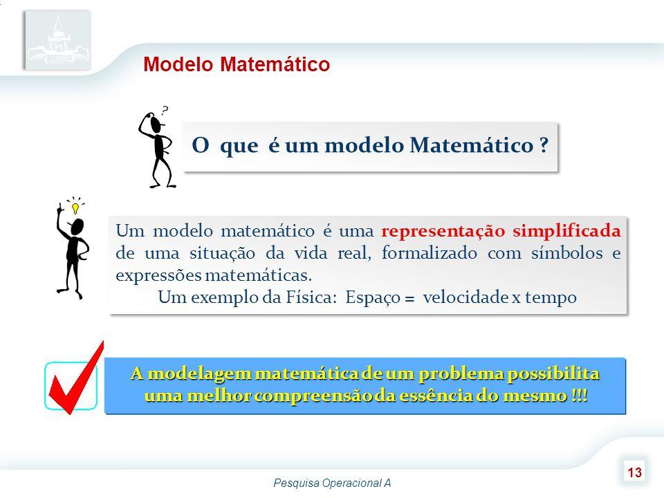 Pesquisa Operacional A 13 Modelo Matemático Um modelo matemático é uma representação simplificada de uma situação da vida real, formalizado com símbol