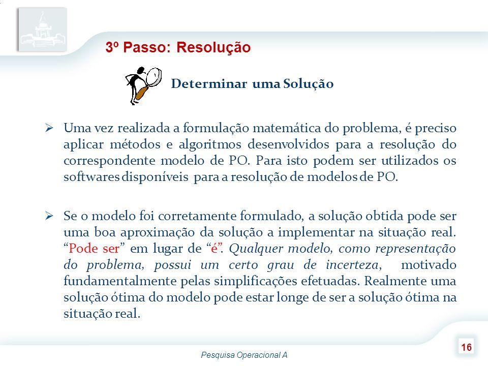 Pesquisa Operacional A 16 3º Passo: Resolução Determinar uma Solução  Uma vez realizada a formulação matemática do problema, é preciso aplicar método