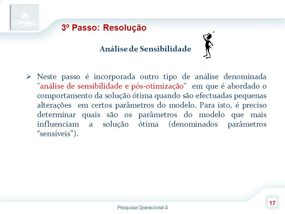 Pesquisa Operacional A 17 3º Passo: Resolução Análise de Sensibilidade  Neste passo é incorporada outro tipo de análise denominada
