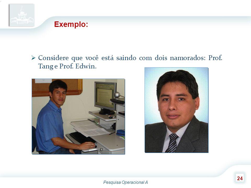 Pesquisa Operacional A 24 Exemplo:  Considere que você está saindo com dois namorados: Prof. Tang e Prof. Edwin.