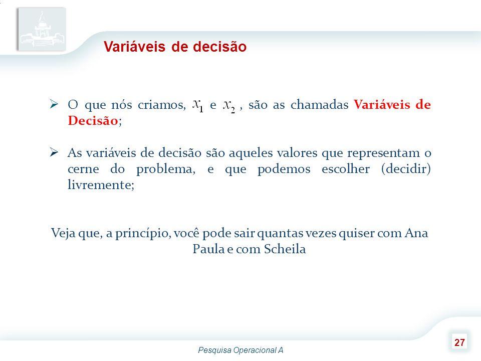 Pesquisa Operacional A 27 Variáveis de decisão  O que nós criamos, e, são as chamadas Variáveis de Decisão;  As variáveis de decisão são aqueles val