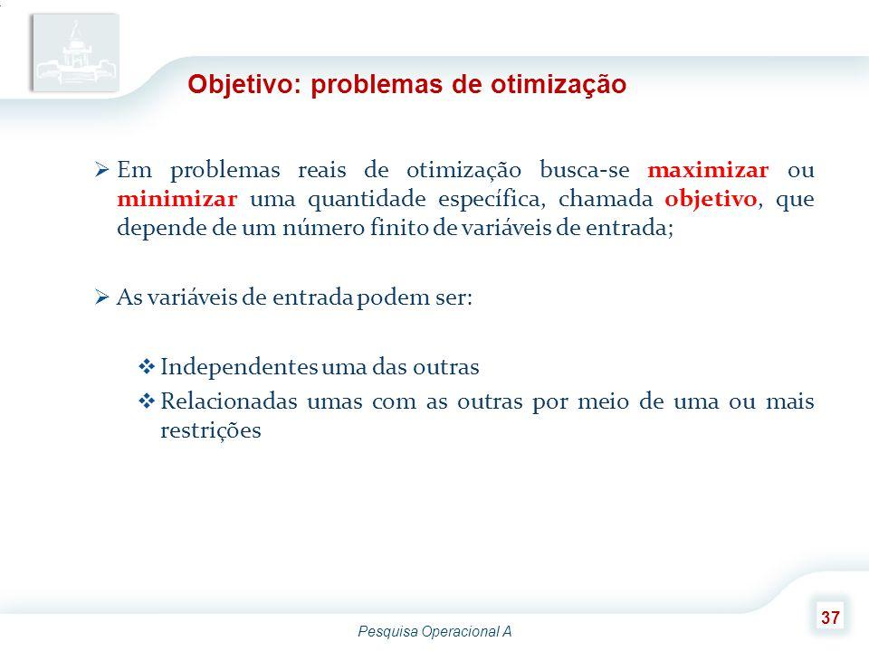 Pesquisa Operacional A 37 Objetivo: problemas de otimização  Em problemas reais de otimização busca-se maximizar ou minimizar uma quantidade específi