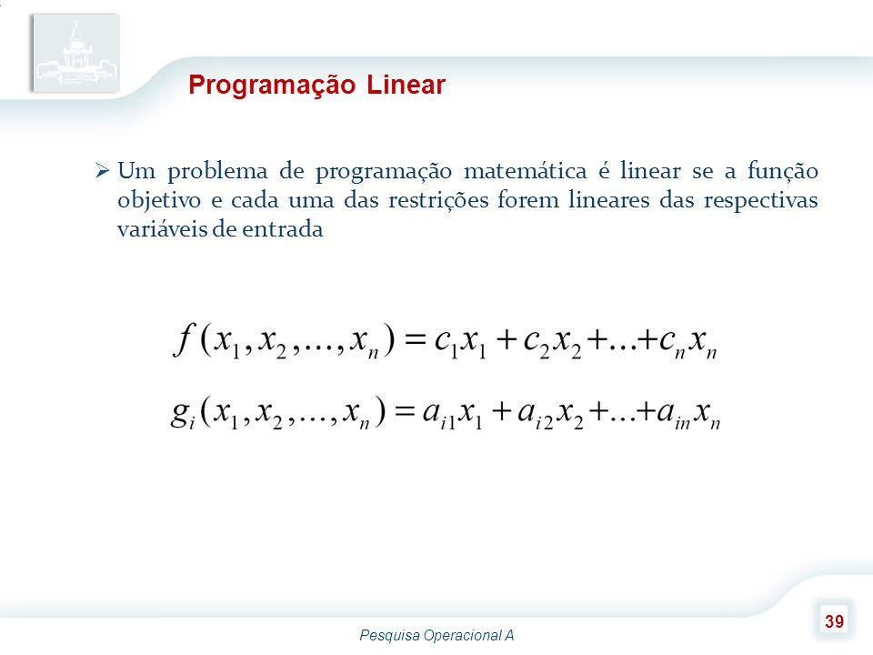 Pesquisa Operacional A 39 Programação Linear  Um problema de programação matemática é linear se a função objetivo e cada uma das restrições forem lin