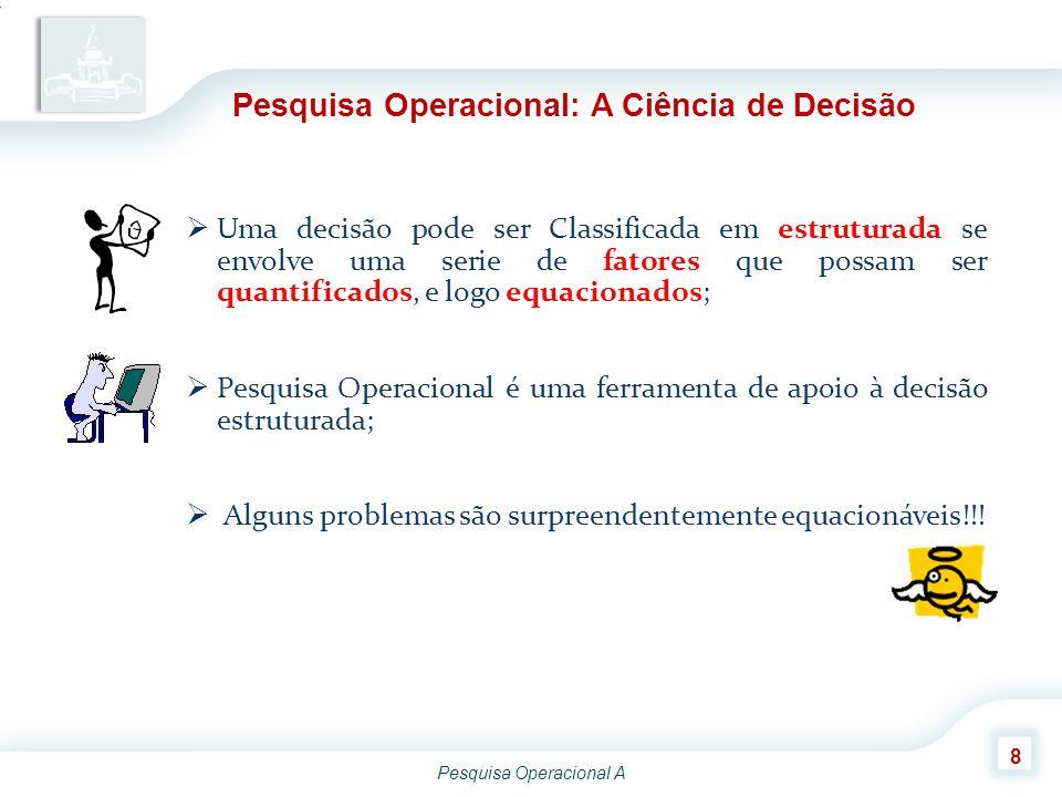 Pesquisa Operacional A 9 Principais Passos na PO para a solução de um problema ModelagemModelagem FormulaçãoFormulação SoluçãoSolução AvaliaçãoAvaliação DecisãoDecisão Domínio Definição do Problema Definição ImplementaçãoImplementação