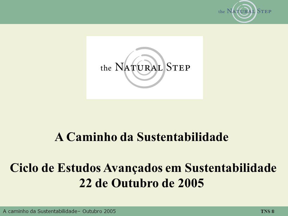 A caminho da Sustentabilidade– Outubro 2005 TNS ® A Caminho da Sustentabilidade Ciclo de Estudos Avançados em Sustentabilidade 22 de Outubro de 2005