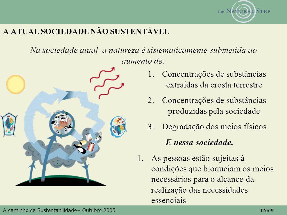 A caminho da Sustentabilidade– Outubro 2005 TNS ® A ATUAL SOCIEDADE NÃO SUSTENTÁVEL Na sociedade atual a natureza é sistematicamente submetida ao aume