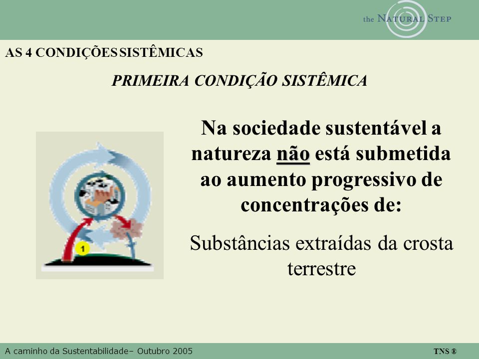 A caminho da Sustentabilidade– Outubro 2005 TNS ® AS 4 CONDIÇÕES SISTÊMICAS não Na sociedade sustentável a natureza não está submetida ao aumento prog