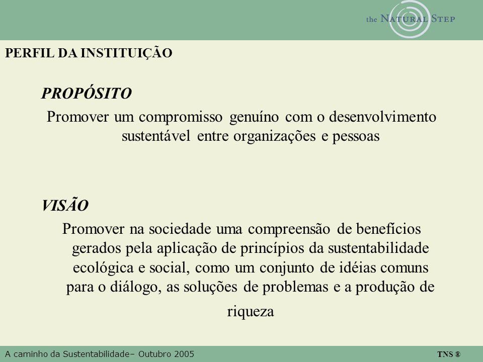 A caminho da Sustentabilidade– Outubro 2005 TNS ® PERFIL DA INSTITUIÇÃO PROPÓSITO Promover um compromisso genuíno com o desenvolvimento sustentável en