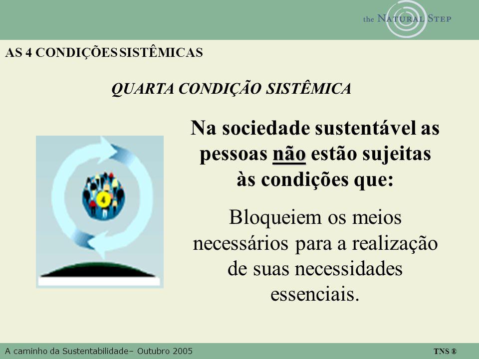 A caminho da Sustentabilidade– Outubro 2005 TNS ® AS 4 CONDIÇÕES SISTÊMICAS QUARTA CONDIÇÃO SISTÊMICA não Na sociedade sustentável as pessoas não estã