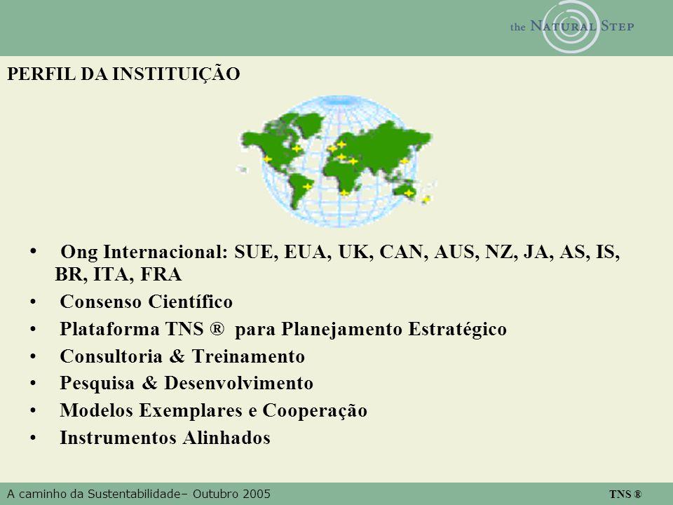 A caminho da Sustentabilidade– Outubro 2005 TNS ® PERFIL DA INSTITUIÇÃO Ong Internacional: SUE, EUA, UK, CAN, AUS, NZ, JA, AS, IS, BR, ITA, FRA Consen