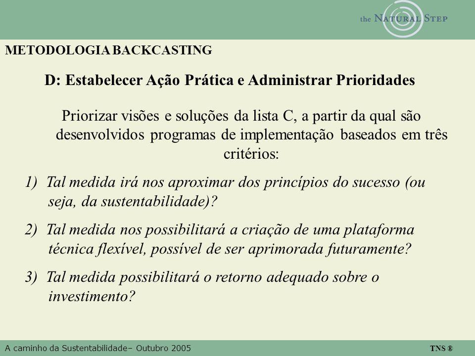 A caminho da Sustentabilidade– Outubro 2005 TNS ® METODOLOGIA BACKCASTING D: Estabelecer Ação Prática e Administrar Prioridades Priorizar visões e soluções da lista C, a partir da qual são desenvolvidos programas de implementação baseados em três critérios: 1) Tal medida irá nos aproximar dos princípios do sucesso (ou seja, da sustentabilidade).