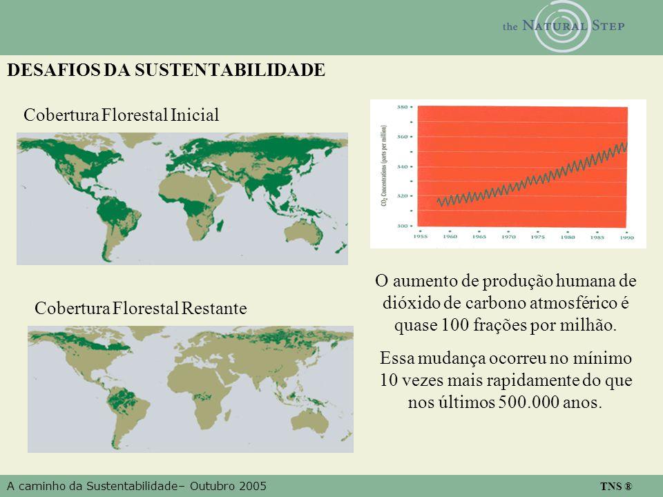 A caminho da Sustentabilidade– Outubro 2005 TNS ® DESAFIOS DA SUSTENTABILIDADE Cobertura Florestal Inicial Cobertura Florestal Restante O aumento de produção humana de dióxido de carbono atmosférico é quase 100 frações por milhão.