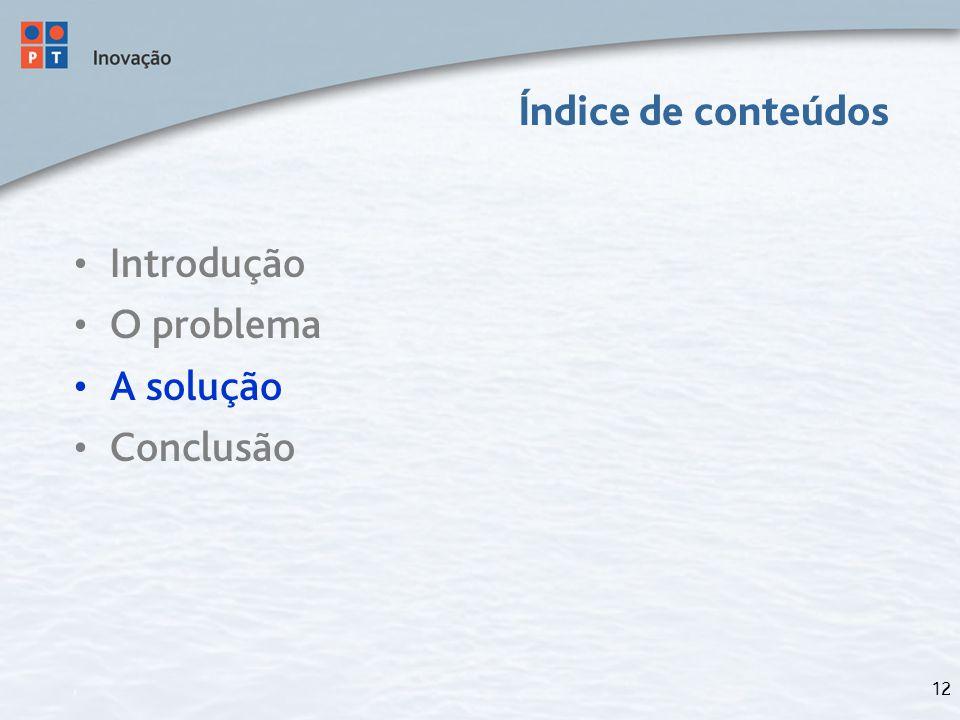 12 Índice de conteúdos Introdução O problema A solução Conclusão