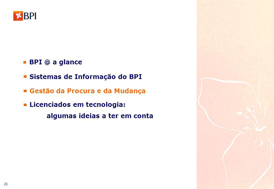 26 BPI @ a glance Gestão da Procura e da Mudança Licenciados em tecnologia: algumas ideias a ter em conta Sistemas de Informação do BPI