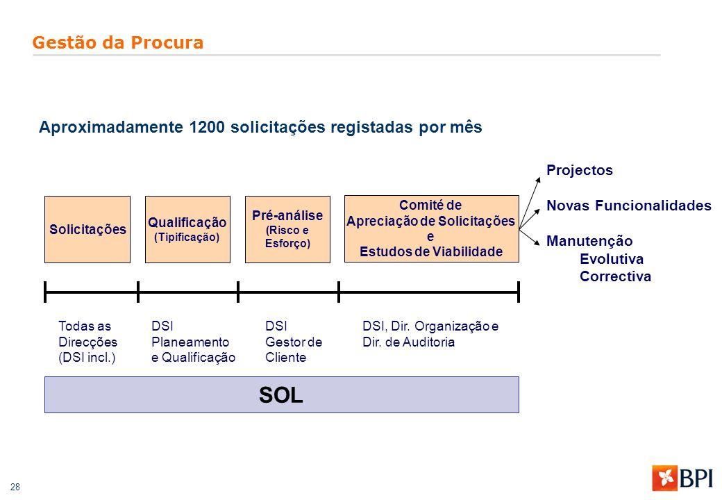 28 Gestão da Procura Solicitações Qualificação (Tipificação) Pré-análise (Risco e Esforço) Comité de Apreciação de Solicitações e Estudos de Viabilida