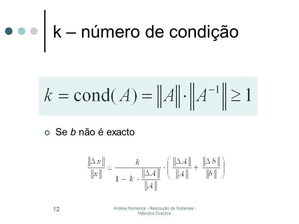 Análise Numérica - Resolução de Sistemas - Métodos Directos 12 k – número de condição Se b não é exacto