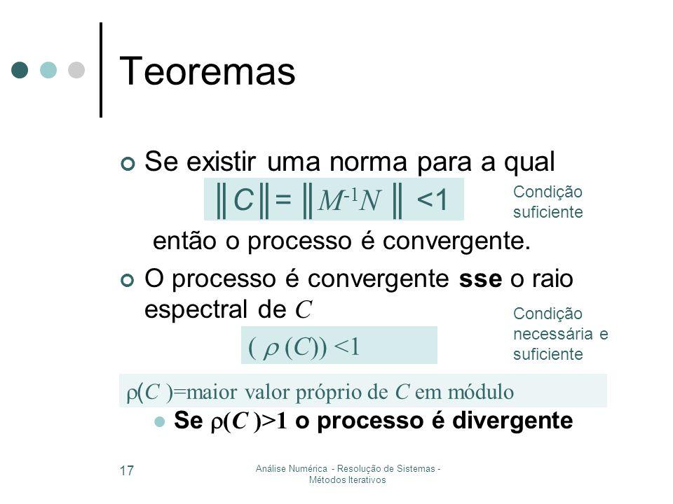 Análise Numérica - Resolução de Sistemas - Métodos Iterativos 17 Teoremas Se existir uma norma para a qual então o processo é convergente.