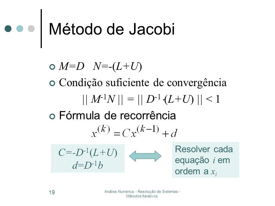 Análise Numérica - Resolução de Sistemas - Métodos Iterativos 19 Método de Jacobi M=D N=-(L+U) Condição suficiente de convergência || M -1 N || = || D -1  (L+U) || < 1 Fórmula de recorrência C=-D -1 (L+U) d=D -1 b Resolver cada equação i em ordem a x i